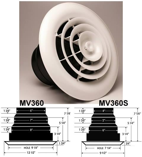 Hvacquick Airtec Series Mv360 Round Ceiling Diffusers