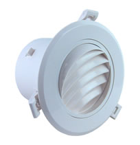 AirScape MVC Round Plastic Diffusers With NO Damper - Angled Curved Blade Face