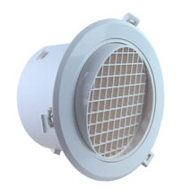 AirScape MVE Round Plastic Diffusers With NO Damper - Egg Crate Face