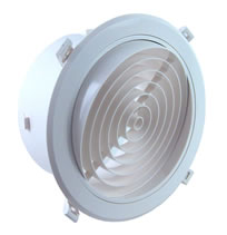 AirScape MVJ Round Plastic Diffusers With NO Damper - Concentric Circle Blade Face